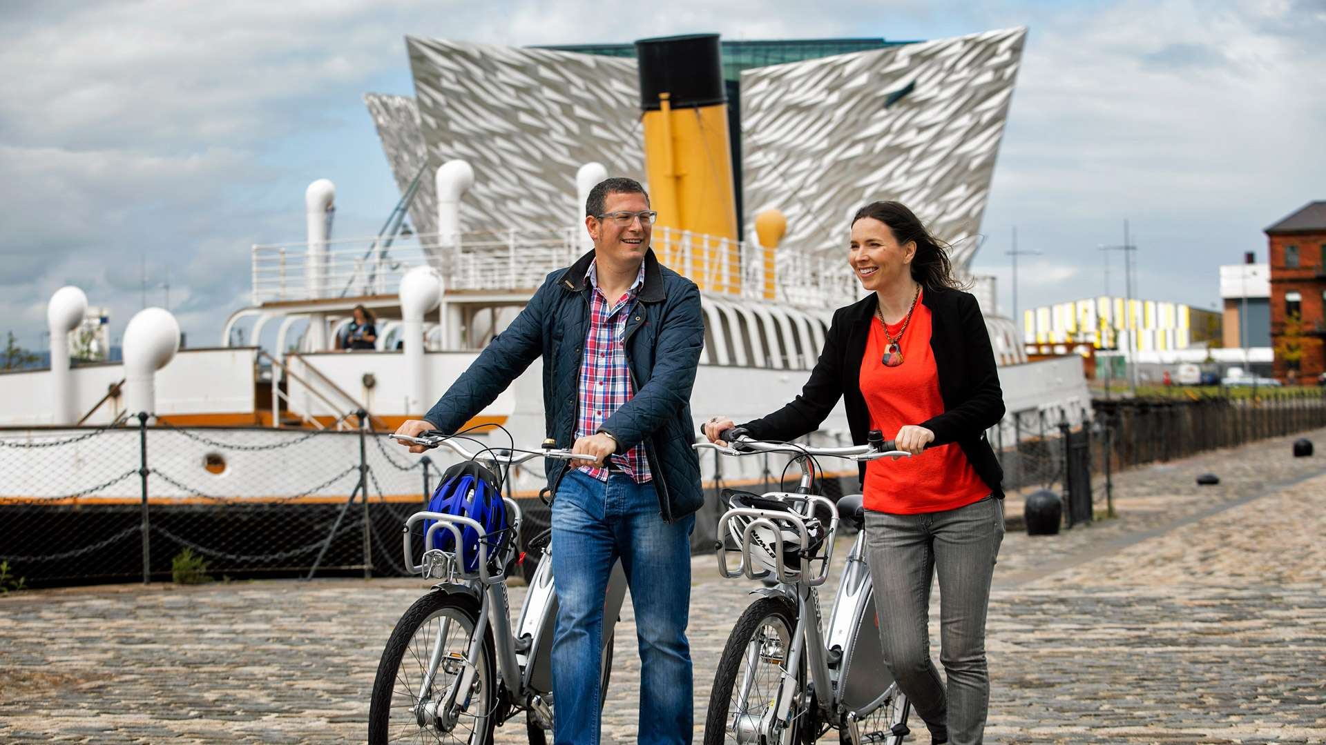 Cycling in Titanic Quarter